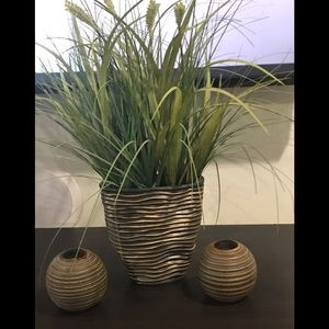 Zebra striped planter and 2 candle holders.